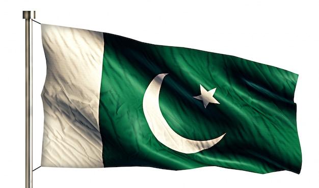 Pakistan national flag izolowane 3d białe tło