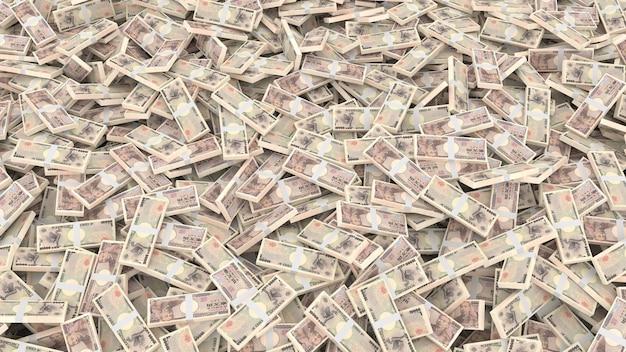 Pakowanie banknotów o nominałach dziesięciu tysięcy jenów japońskich za całą ramę