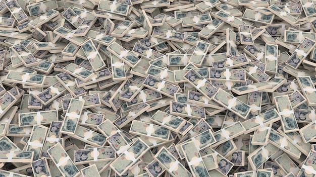 Pakowanie banknotów o nominałach pięciu tysięcy jenów japońskich w całym kadrze
