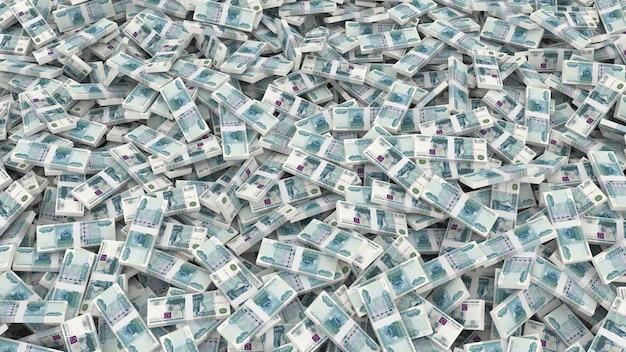 Pakowanie banknotów o nominałach po tysiąc rubli za całą ramę