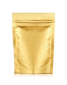 Pakowanie woreczek na suwak z folii aluminiowej złoty na białym