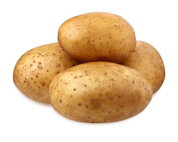 Pala ziemniaków na białym tle na białym tle ze ścieżką przycinającą. surowe nierafinowane warzywo, warzywo korzeniowe, bulwa.