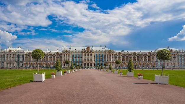 Pałac katarzyny, położony w miejscowości carskie sioło (puszkin), sankt petersburg, rosja