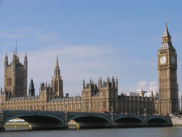 Pałac westminsterski z dzwonem na wieży zwanym big ben w słoneczny dzień.