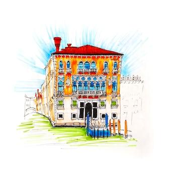 Palazzo w stylu weneckiego gotyku na canal grande w letni dzień, wenecja, włochy.