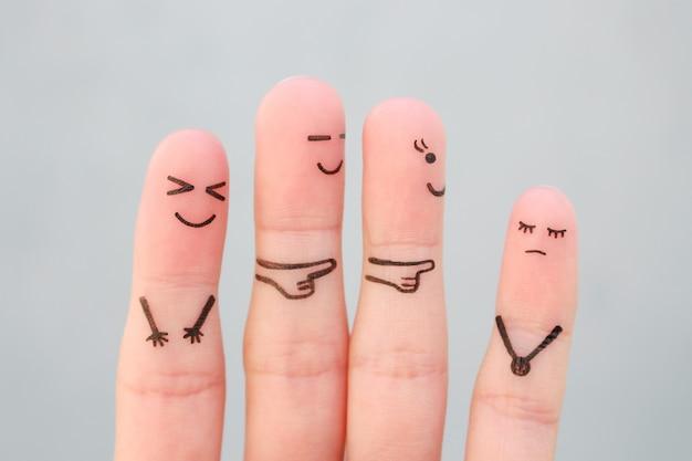 Palce sztuki ludzi. koncepcja dzieci znęcanie się nad kolegą z klasy.