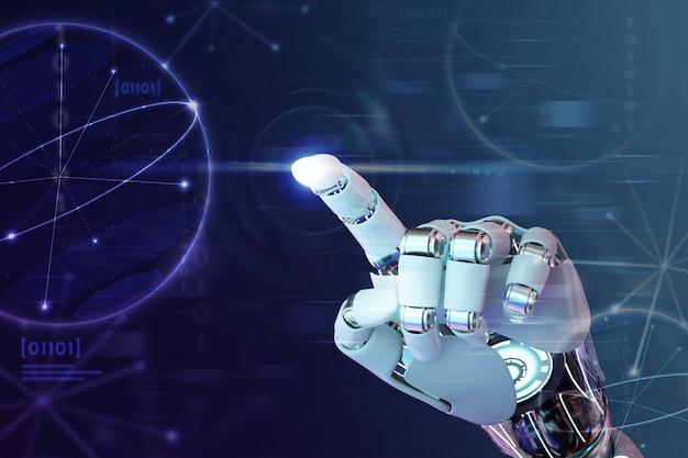 Palec dłoni robota, grafika w technologii ai w tle