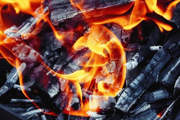 Palenie drewna w piecu. ogień, płomienie. grill lub grill