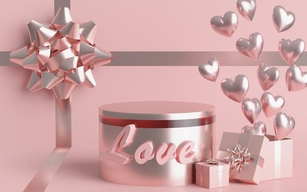Paleta koncepcyjna walentynki ma pudełko upominkowe. balon pastelowe różowe serce i pastel. renderowania 3d.
