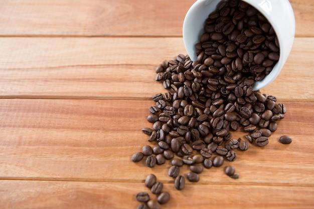 Palone ziarna kawy wysypują się z filiżanki