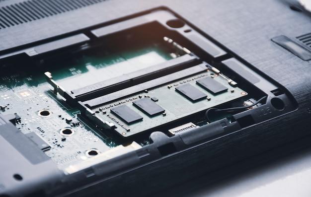 Pamięć ram o dostępie swobodnym w gnieździe pamięci na płycie głównej laptopa