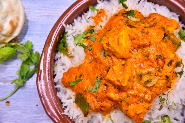 Paneer tikka masala on rice