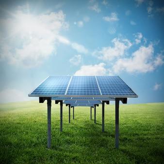 Panel słoneczny w polu z niebem i słońcem