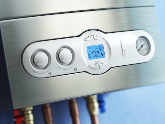 Panel sterowania kotłem gazowym. ogrzewanie domu kotłownią gazową. 3d
