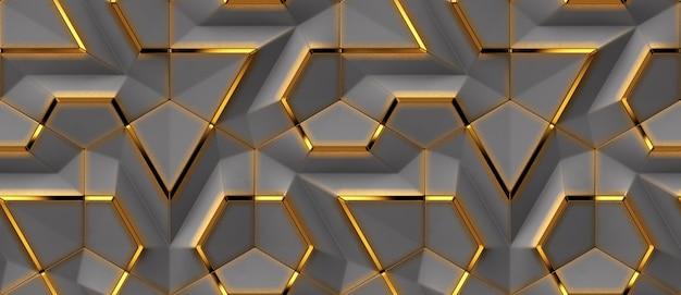 Panele 3d w kolorze szarym ze złotymi patynowanymi elementami dekoracyjnymi