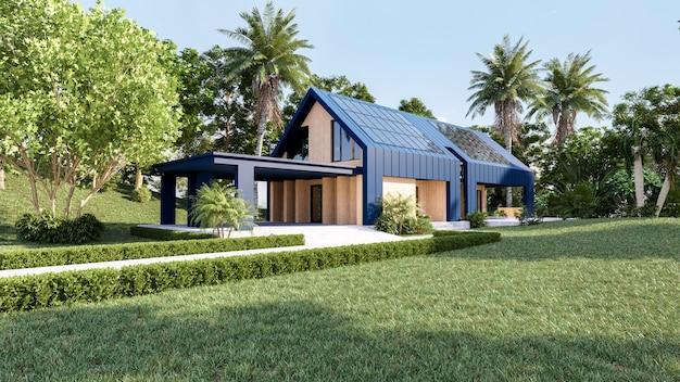 Panele słoneczne na dachu nowoczesnego domu, pozyskiwanie energii odnawialnej za pomocą paneli słonecznych, projektowanie zewnętrzne, renderowanie 3d
