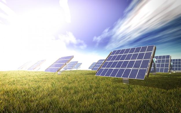 Panele słoneczne na łące