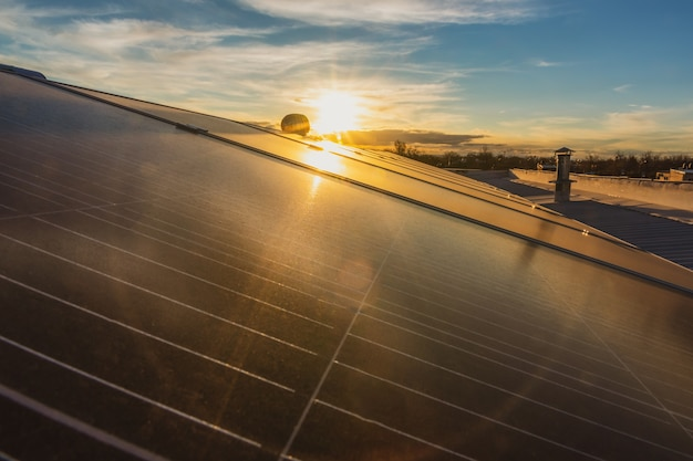 Panele słoneczne z rozpyloną wodą o zachodzie słońca.