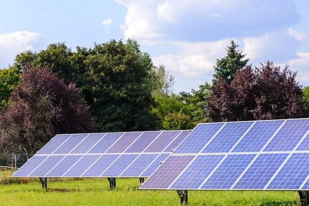 Panele słoneczne zamontowane na ziemi