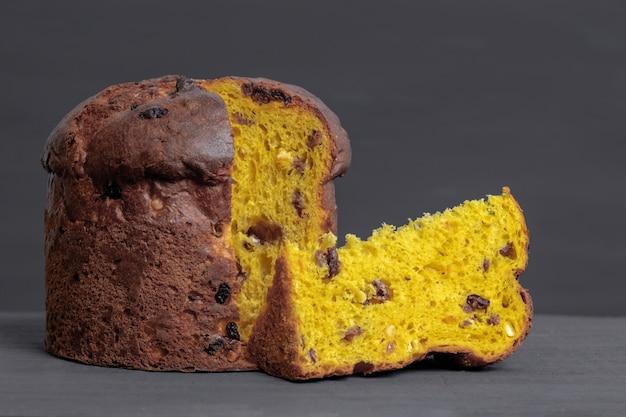 Panettone panetone pane tone kawałek kawałek żółty rozświetlający ostateczny szary włoski