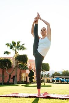 Pani Fitness Zrobić ćwiczenia Rozciągające Na Zewnątrz Premium Zdjęcia