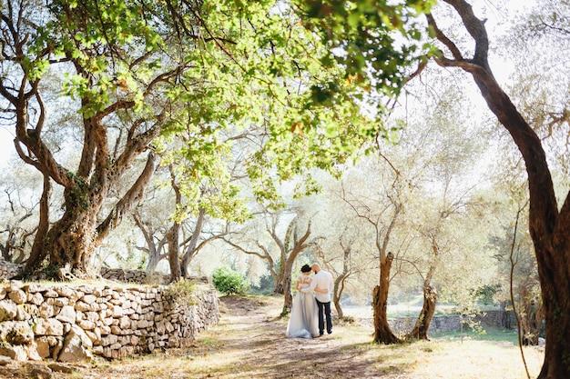 Panna młoda i stoją w pobliżu starego kamiennego muru wśród drzew w gaju oliwnym z tyłu