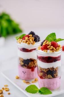 Pannacotta z jagodami, greckim jogurtem i granolą. zdrowe śniadanie