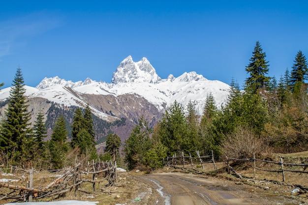 Panorama gór gruzji uzhba i lodowiec kapelusz śnieg z drogi