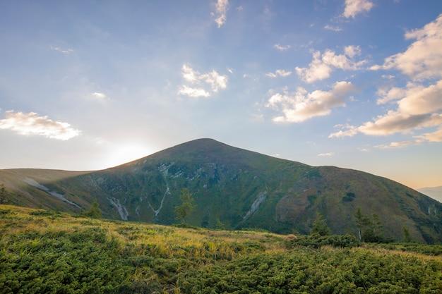 Panorama karpackich gór w lato słonecznym dniu.