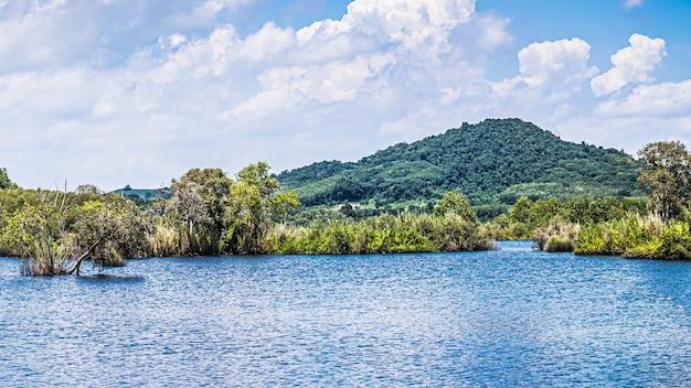 Panorama letniego krajobrazu z czystym górskim jeziorem i leśnym krajobrazem rayong provincial east plant center thailand