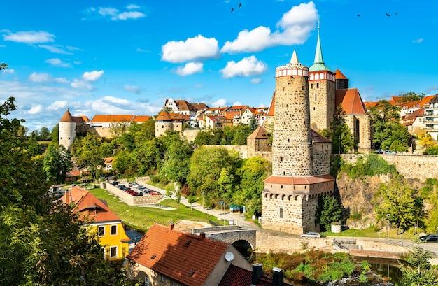 Panorama miasta budziszyna w saksonii, niemcy
