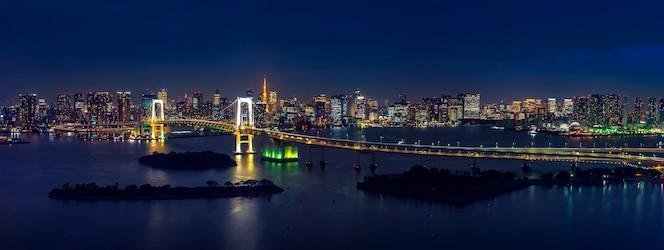 Panorama miasta tokio i tęczowy most nocą.