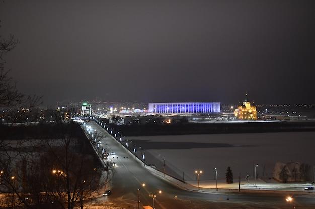 Panorama niżnego nowogrodu nocą