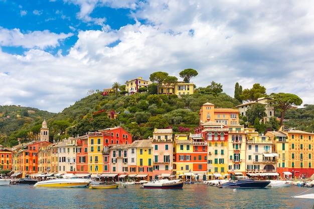 Panorama portofino, riwiera włoska, liguria