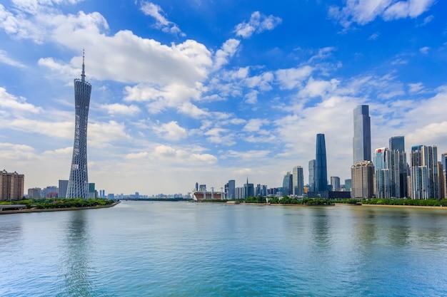 Panorama rzeki skyline chiński ramki