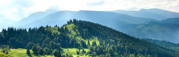 Panorama świezi zieleni wzgórza w karpackich górach w wiosna słonecznym dniu