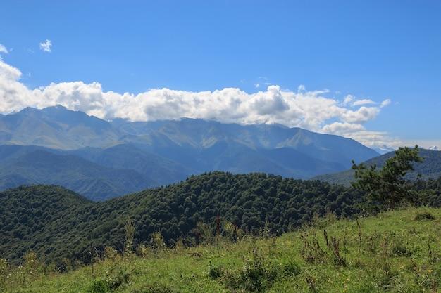 Panorama widok gór scen w parku narodowym dombay, kaukaz, rosja, europa. dramatyczne błękitne niebo i słoneczny letni krajobraz