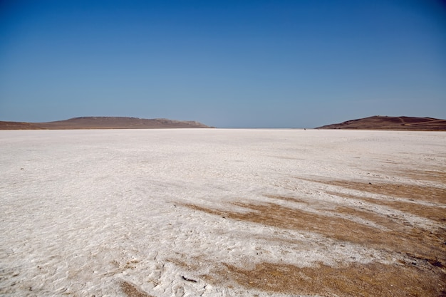 Panorama wielkiego wyschniętego jeziora latem na krymie w rosji