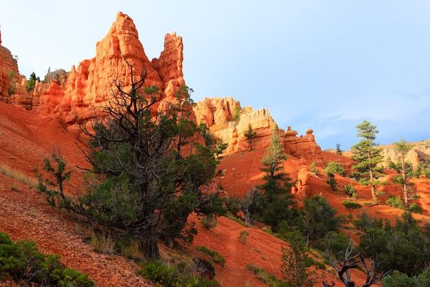 Panorama z czerwonego kanionu od drogi do bryce canyon. krajobraz utah, usa. hoodoo, formacje geologiczne