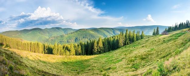 Panorama z zielonymi górami, wzgórzami i lasem