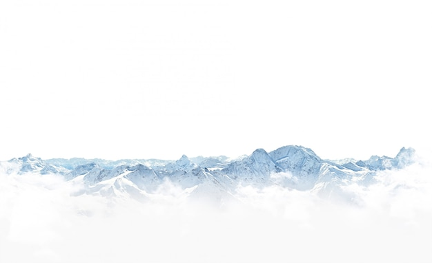 Panorama zim góry ze śniegiem.