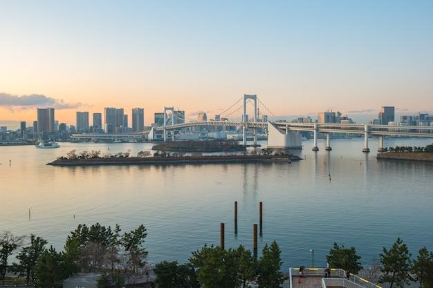 Panoramę miasta tokio z widokiem na zatokę tokijską w japonii.