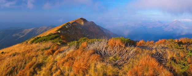 Panoramiczne widoki na góry. jesienny krajobraz ze szczytem górskim i suchą trawą na zboczach wzgórza.