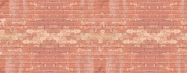Panoramiczny baner z czerwoną cegłą w tle starego muru