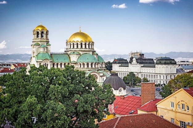 Panoramiczny pejzaż miasta sofia, bułgaria