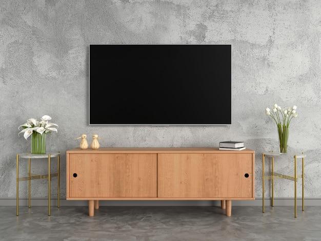 Panoramiczny telewizor i kredens w salonie