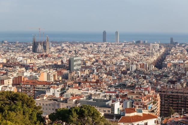 Panoramiczny widok na barcelonę