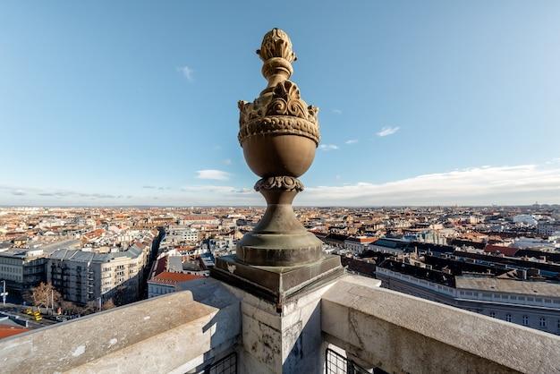 Panoramiczny widok na budapeszt z kopuły bazyliki św. budapeszt, węgry