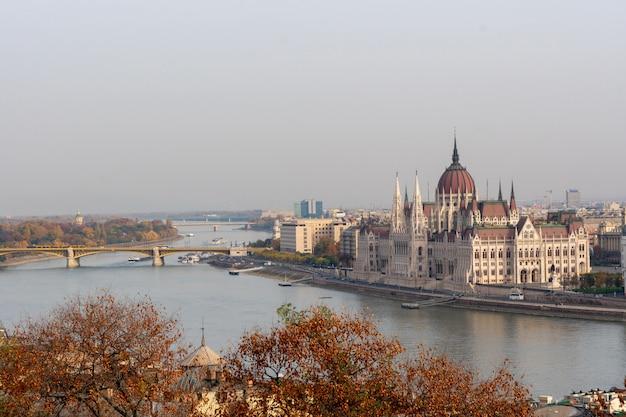 Panoramiczny widok na budynek parlamentu w budapeszcie