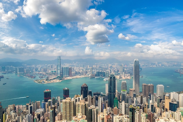Panoramiczny widok na dzielnicę biznesową w hongkongu, chiny
